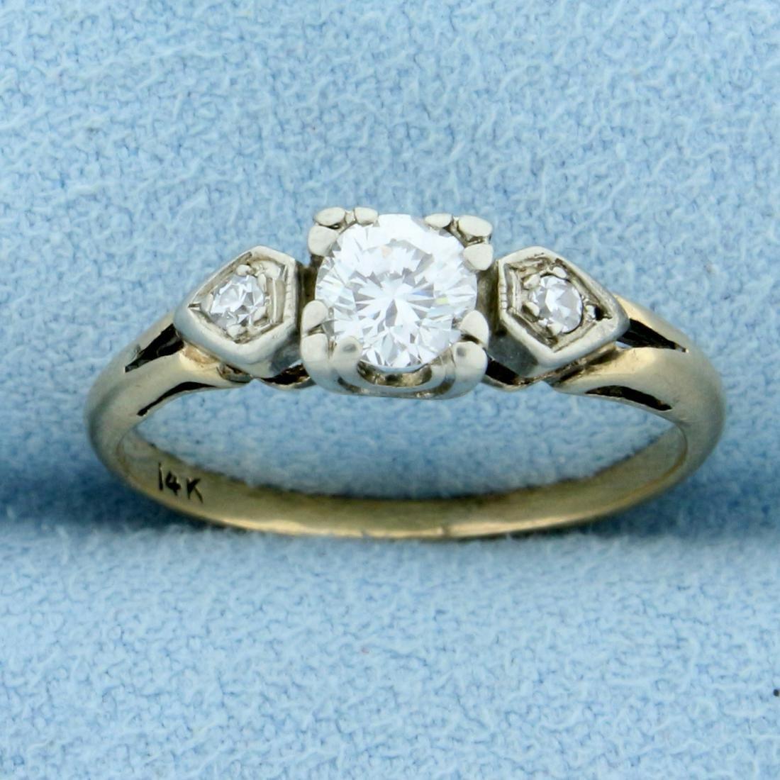 Vintage Three Stone Diamond Ring in 14K Yellow Gold