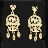 Diamond Cut Abstract Design Dangle Earrings in 14K