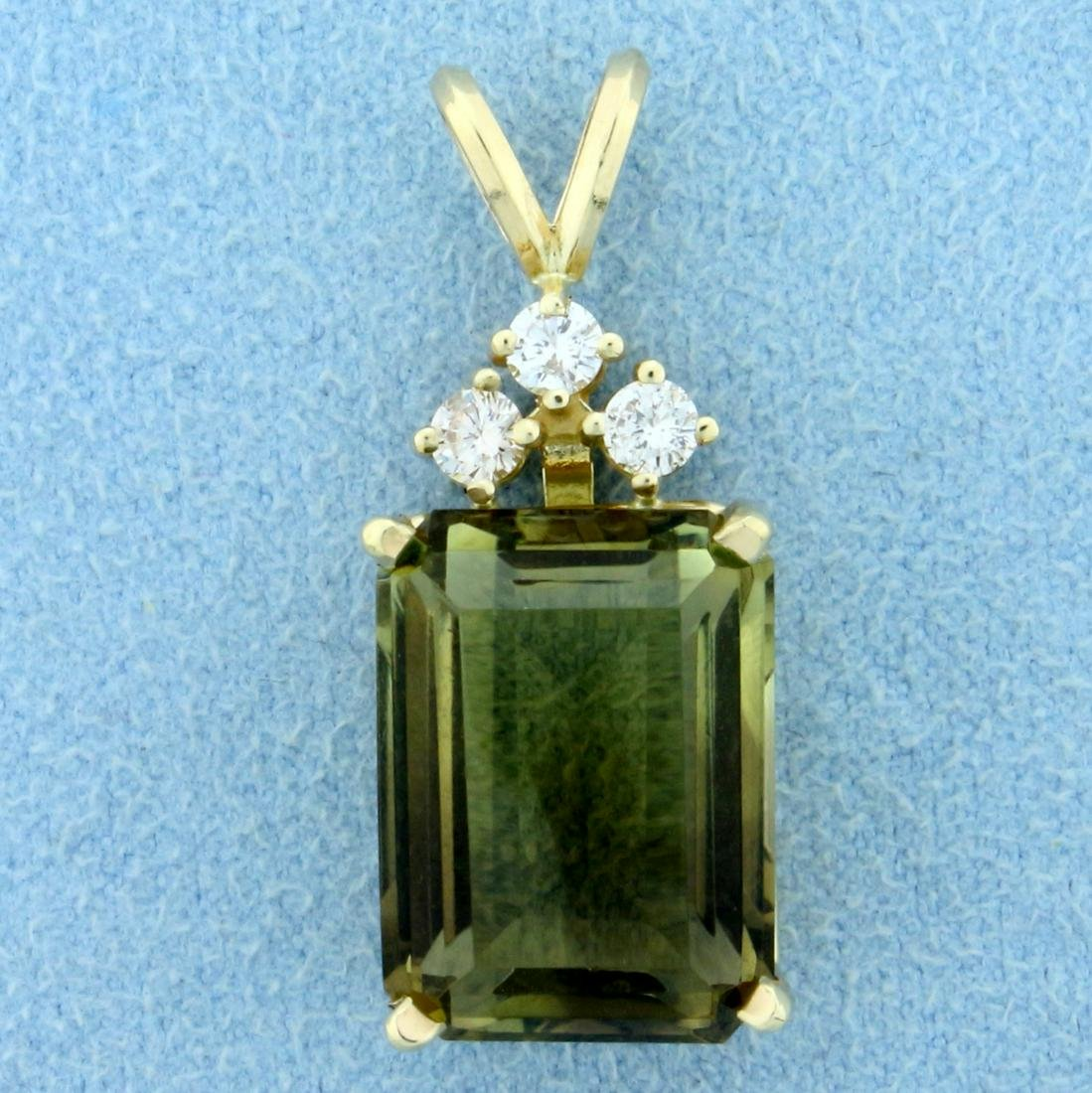 10ct Smoky Topaz and Diamond Pendant in 14K Yellow Gold