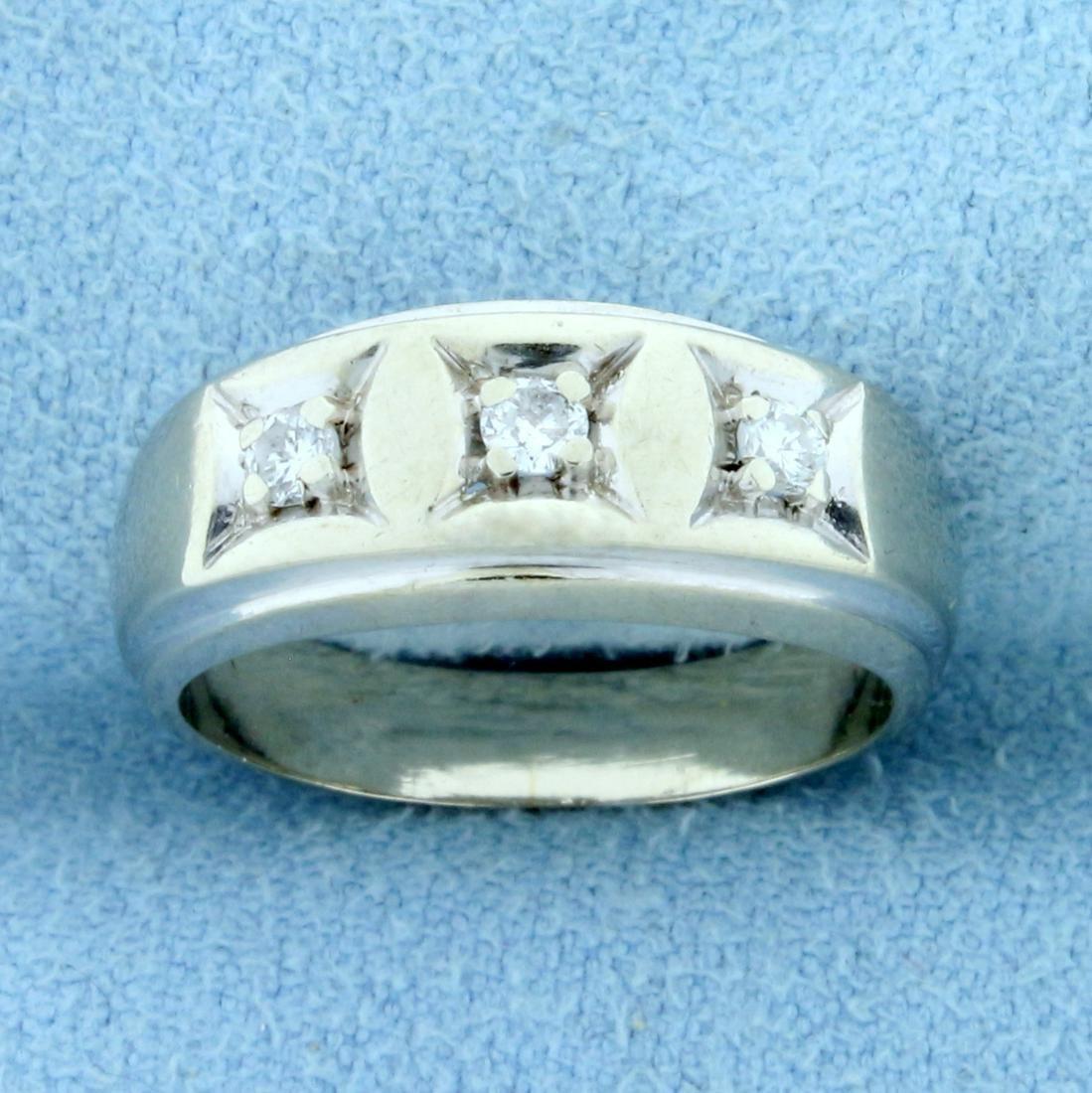 Vintage 3 Stone Diamond Ring in 14K White Gold