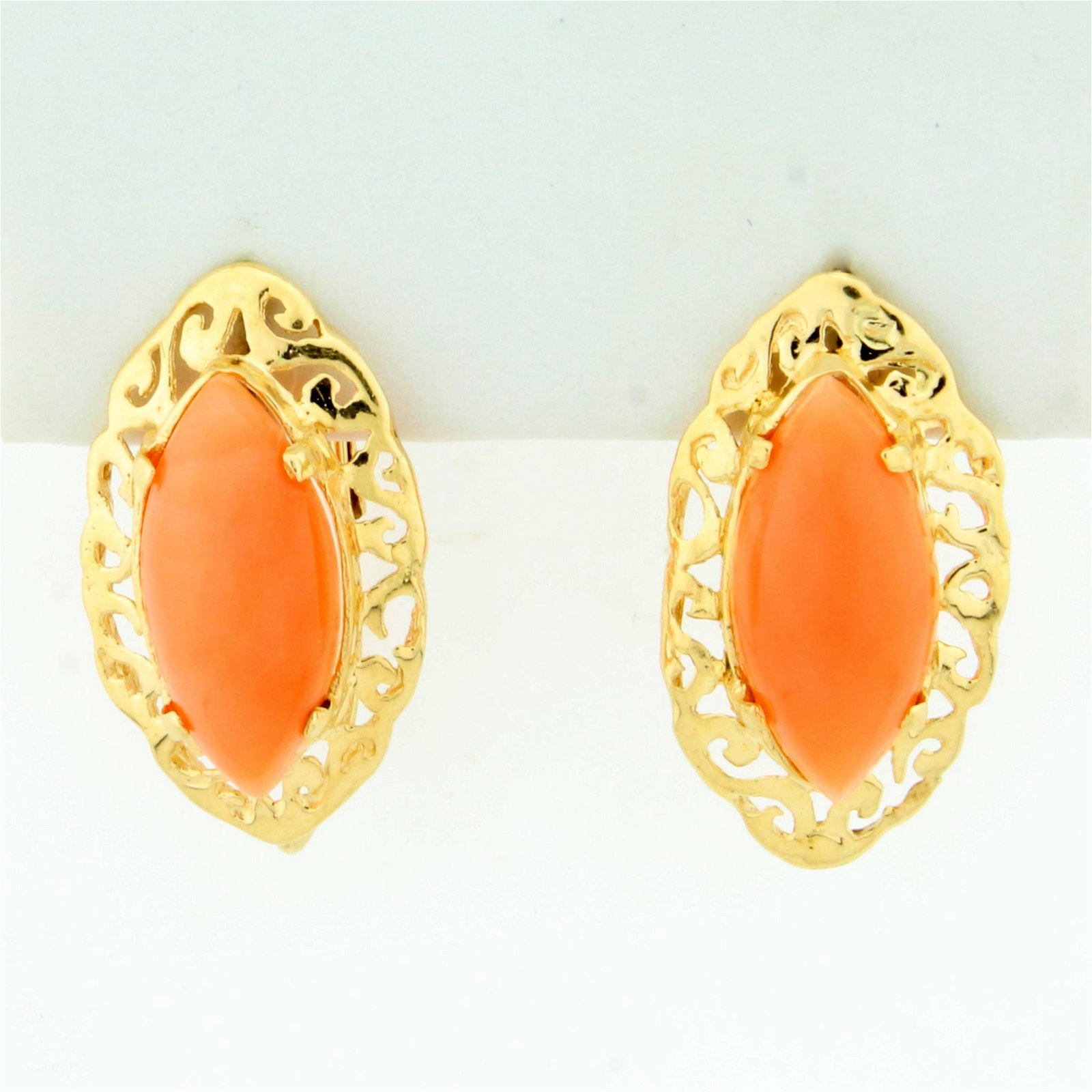 Pink Coral Earrings in 14K Yellow Gold