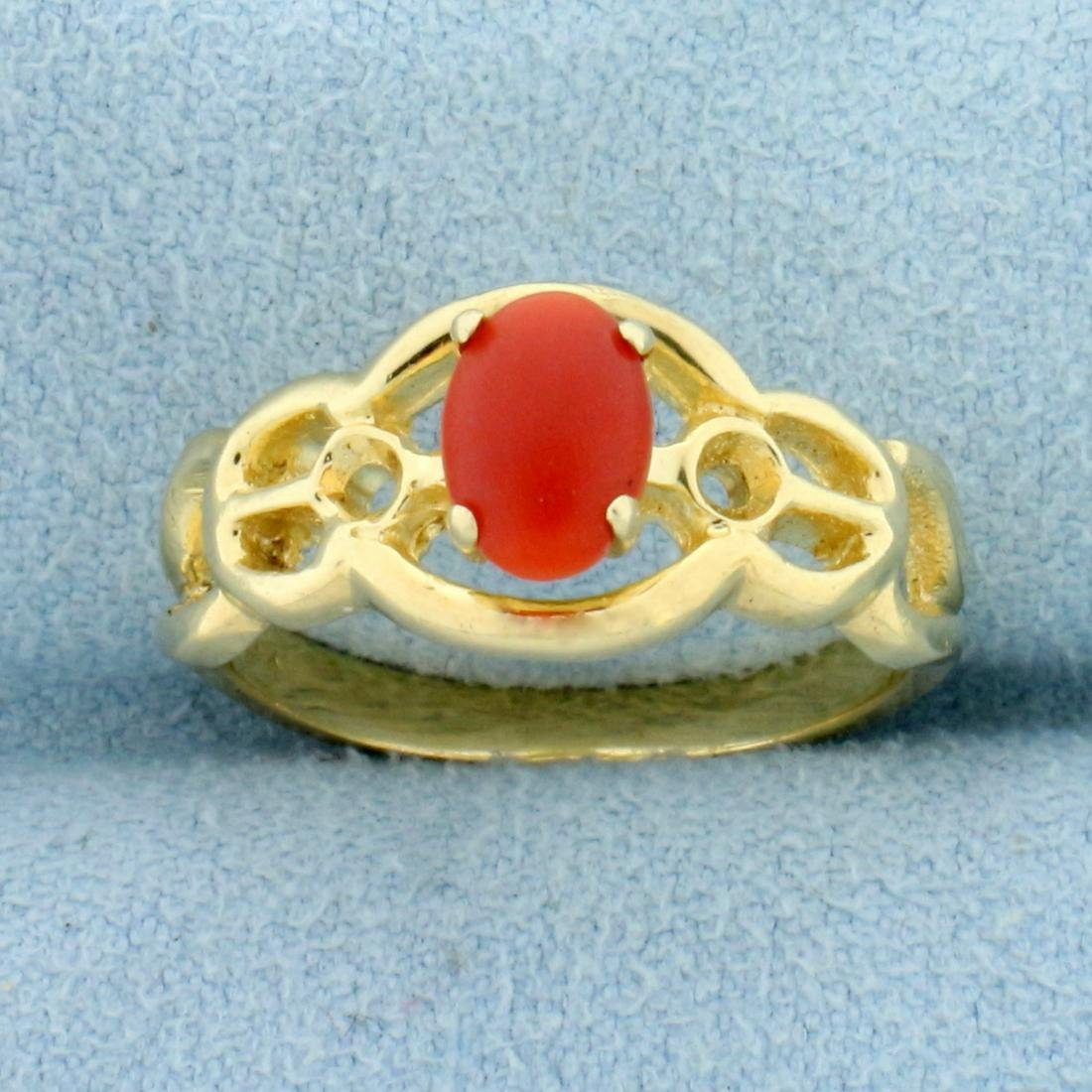 Vintage 1ct Carnelian Ring in 14K Yellow Gold
