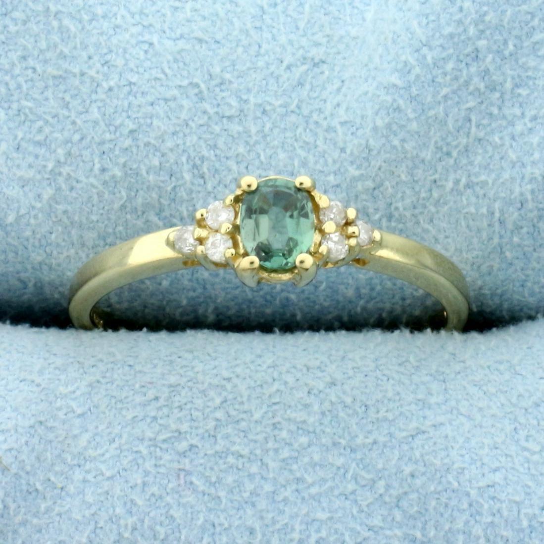 Green Vanadium Chrysoberyl and Diamond Ring in 14K