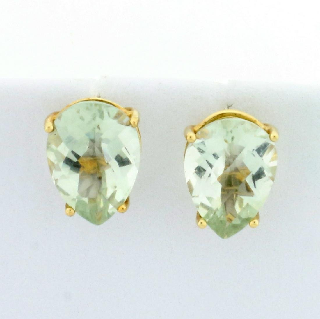 4ct TW Green Amethyst Stud Earrings in 10K Yellow Gold