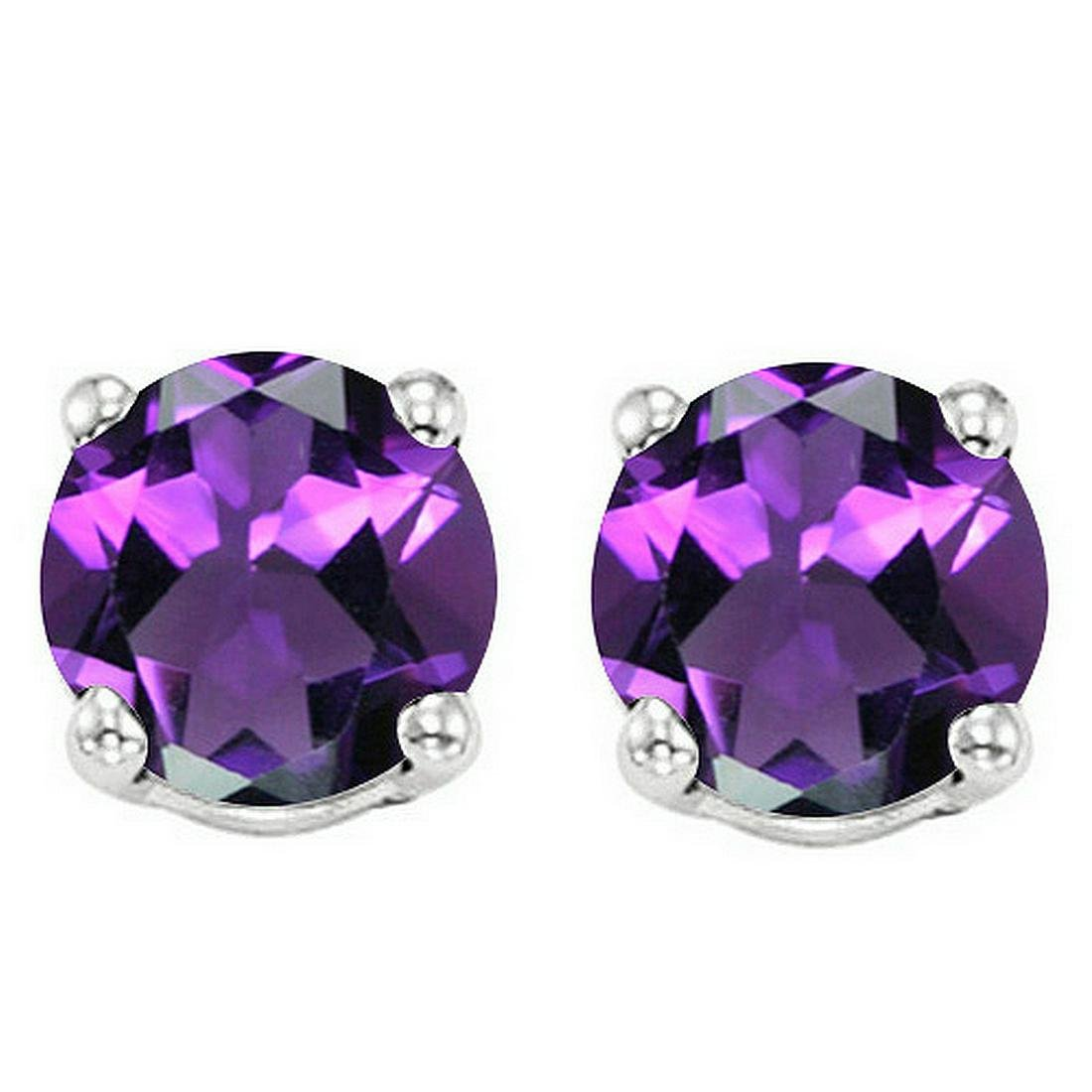 6MM Amethyst Stud Earrings in Sterling Silver