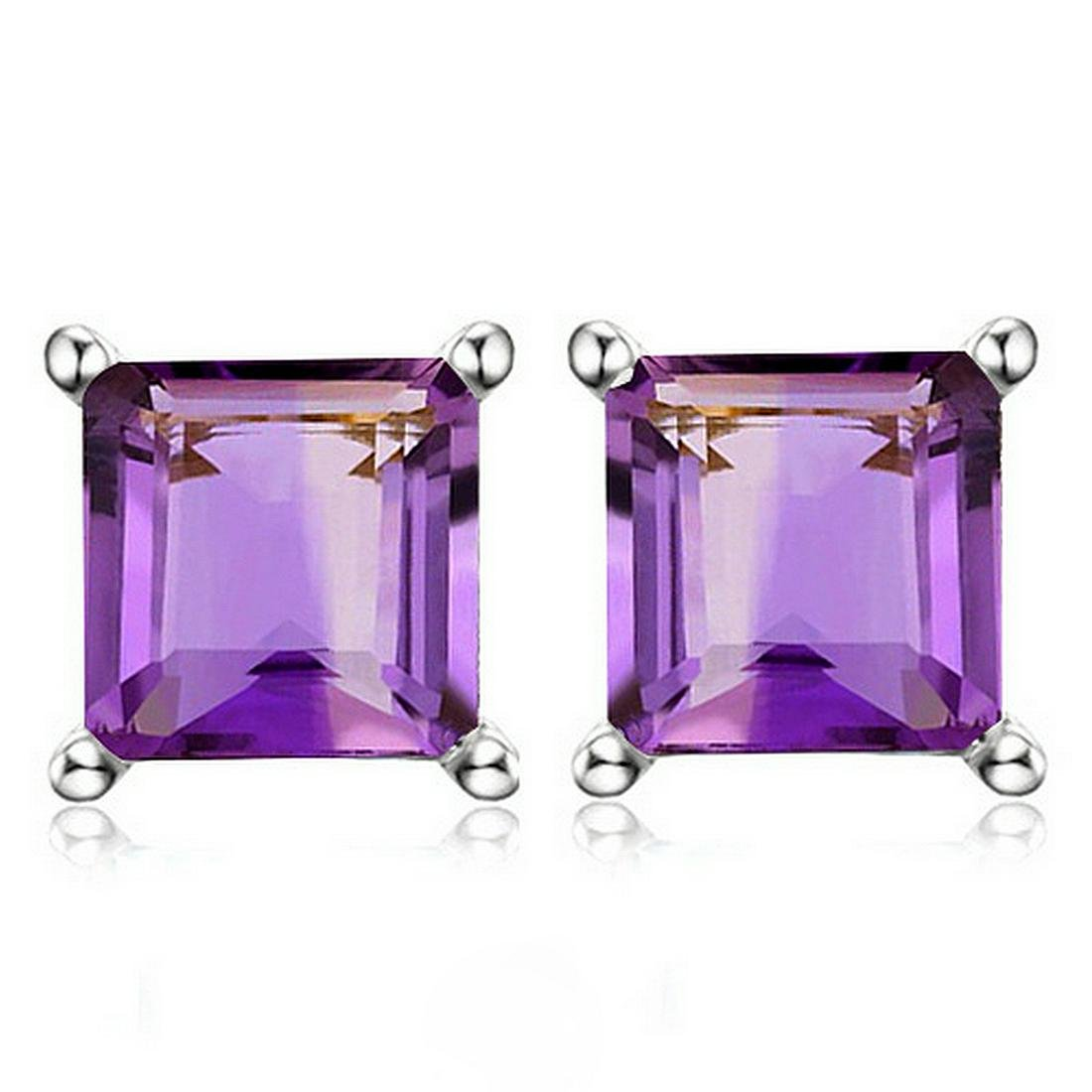 6MM Square Step Cut Natural Amethyst Stud Earrings in