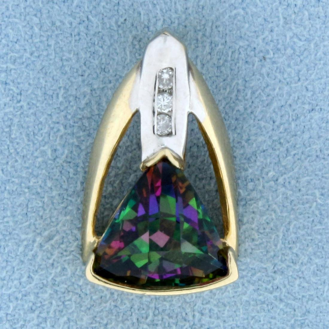 Mystic Topaz and Diamond Pendant in 14k Gold
