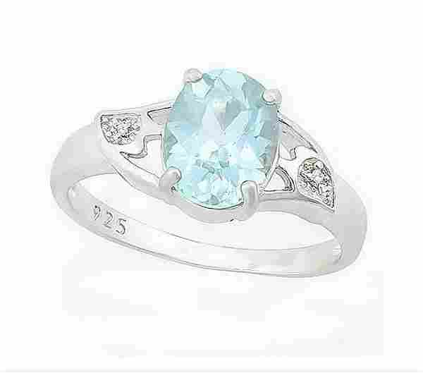 2CT Sky Blue Topaz & Diamond Ring in Sterling Silver