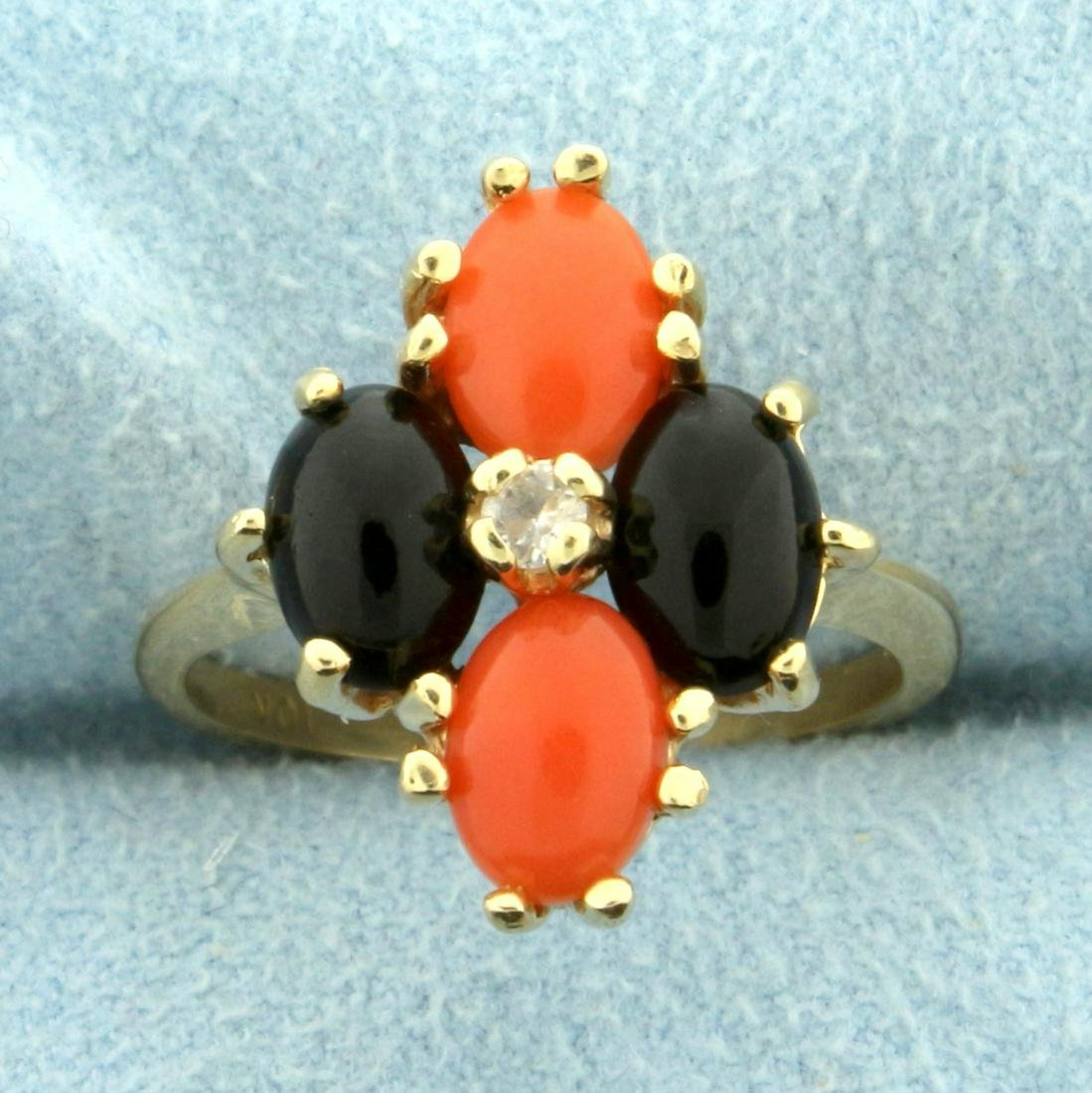 Synthetic Pink and Black Coral and White Sapphire Ring