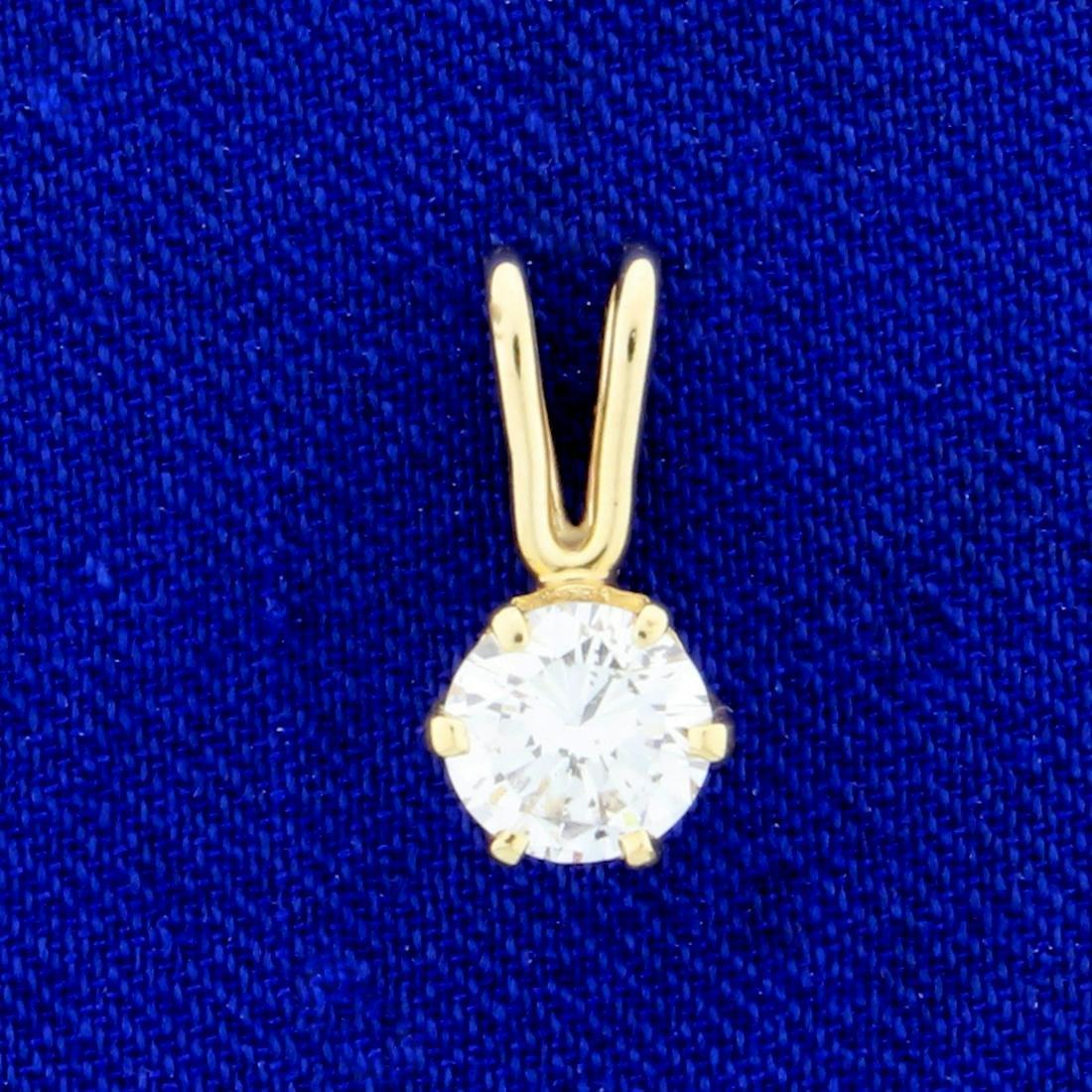 2/3ct Solitaire Diamond Pendant in 14k Yellow Gold