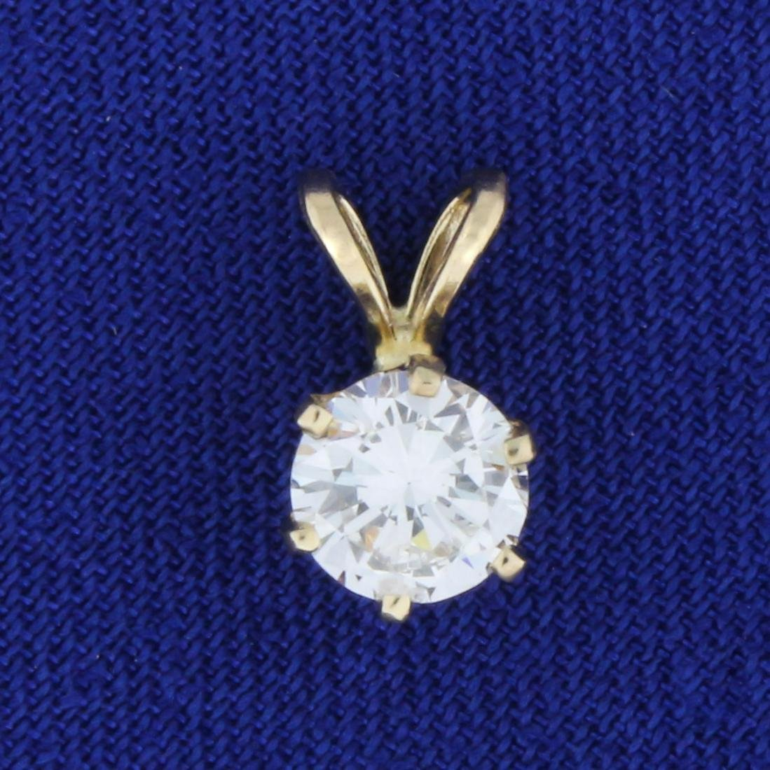 Over 1/2ct Solitaire Diamond Pendant in 14K Yellow Gold