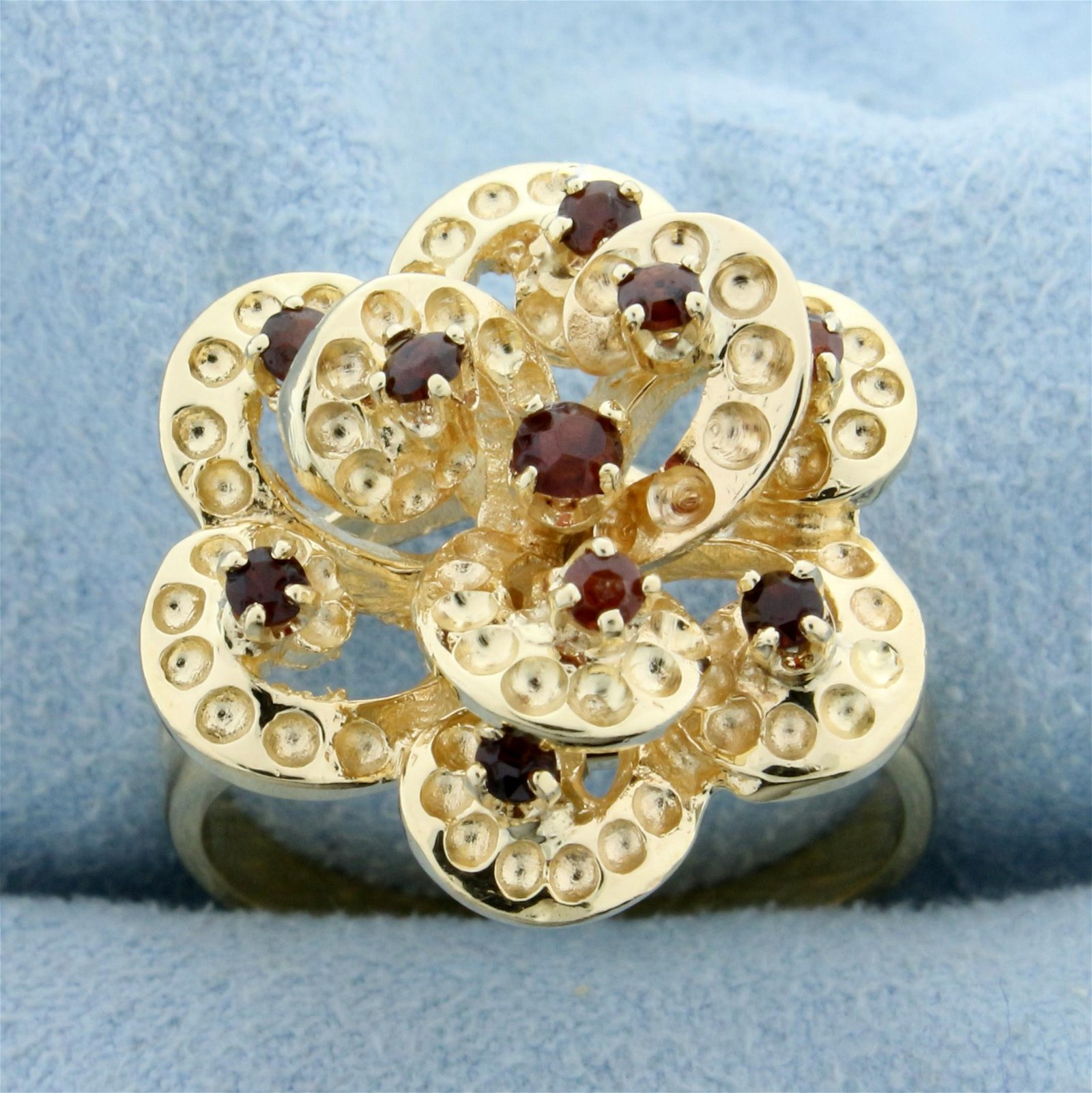 Garnet Flower Ring in 14K Yellow Gold