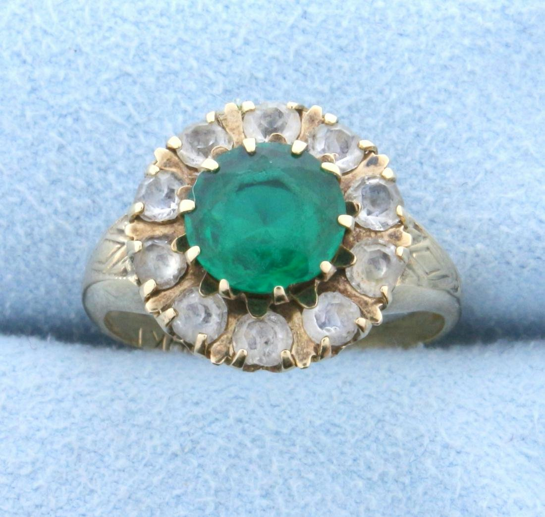1.5ct Synthetic Emerald and Diamond Flower Ring in 10K