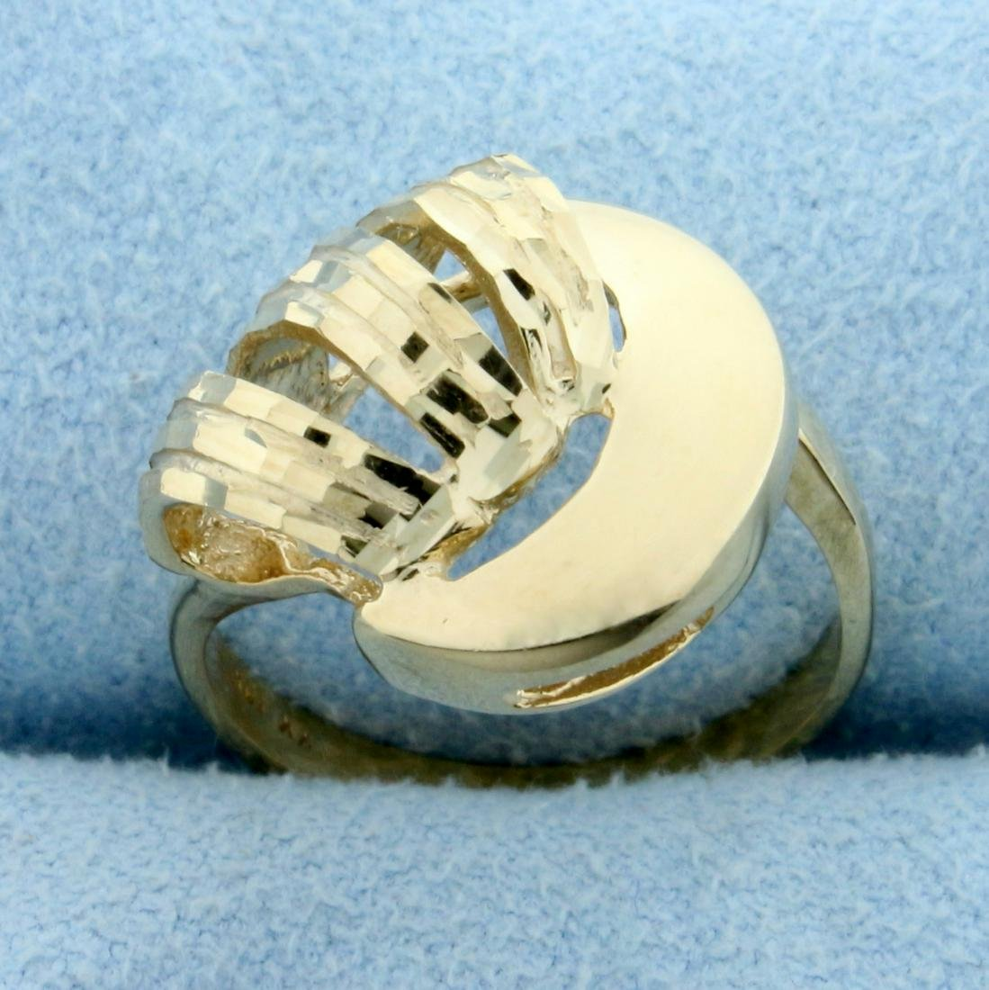Diamond Cut Modern Abstract Design Ring in 10K Yellow