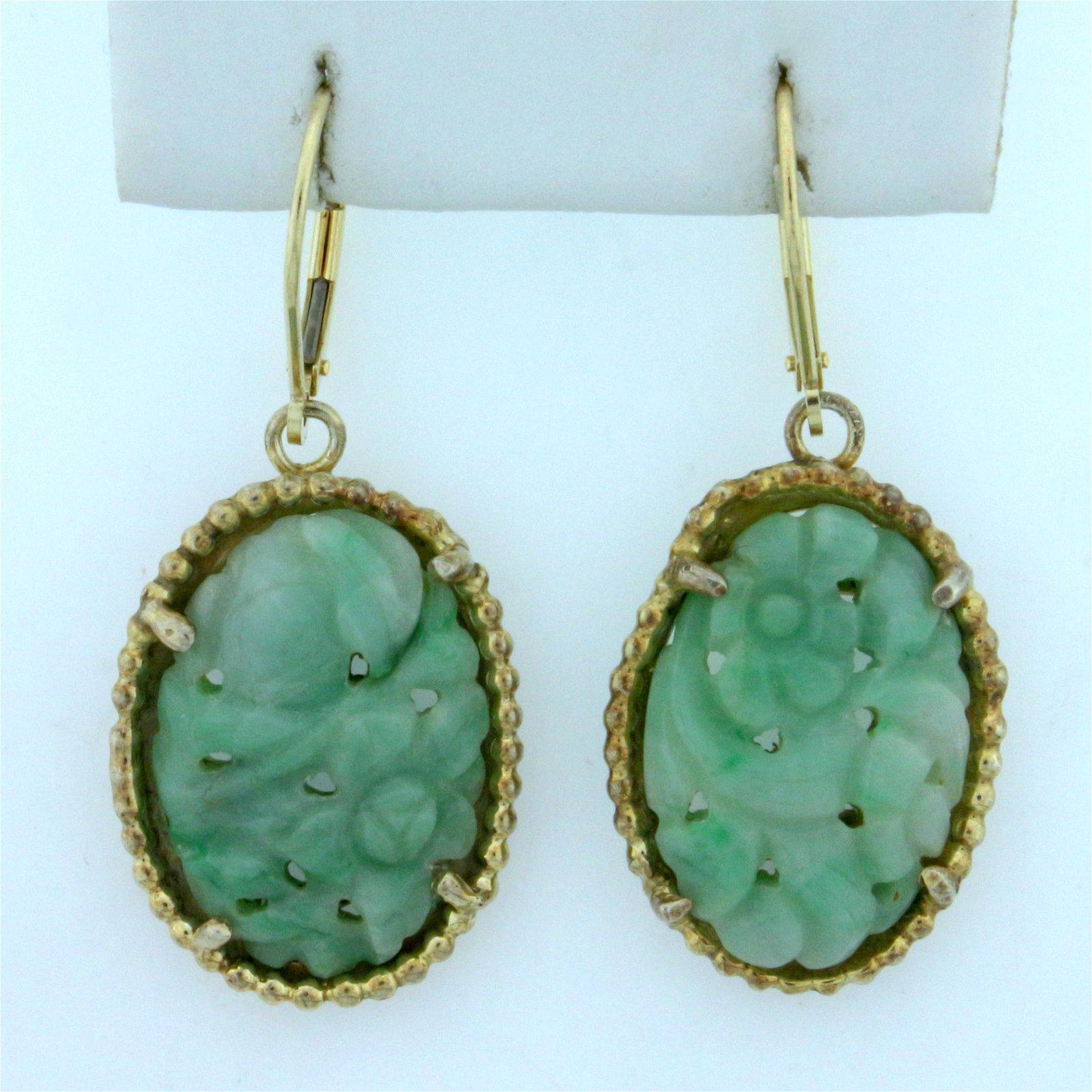 Vintage Hand Carved Jade Dangle Drop Earrings in 14K