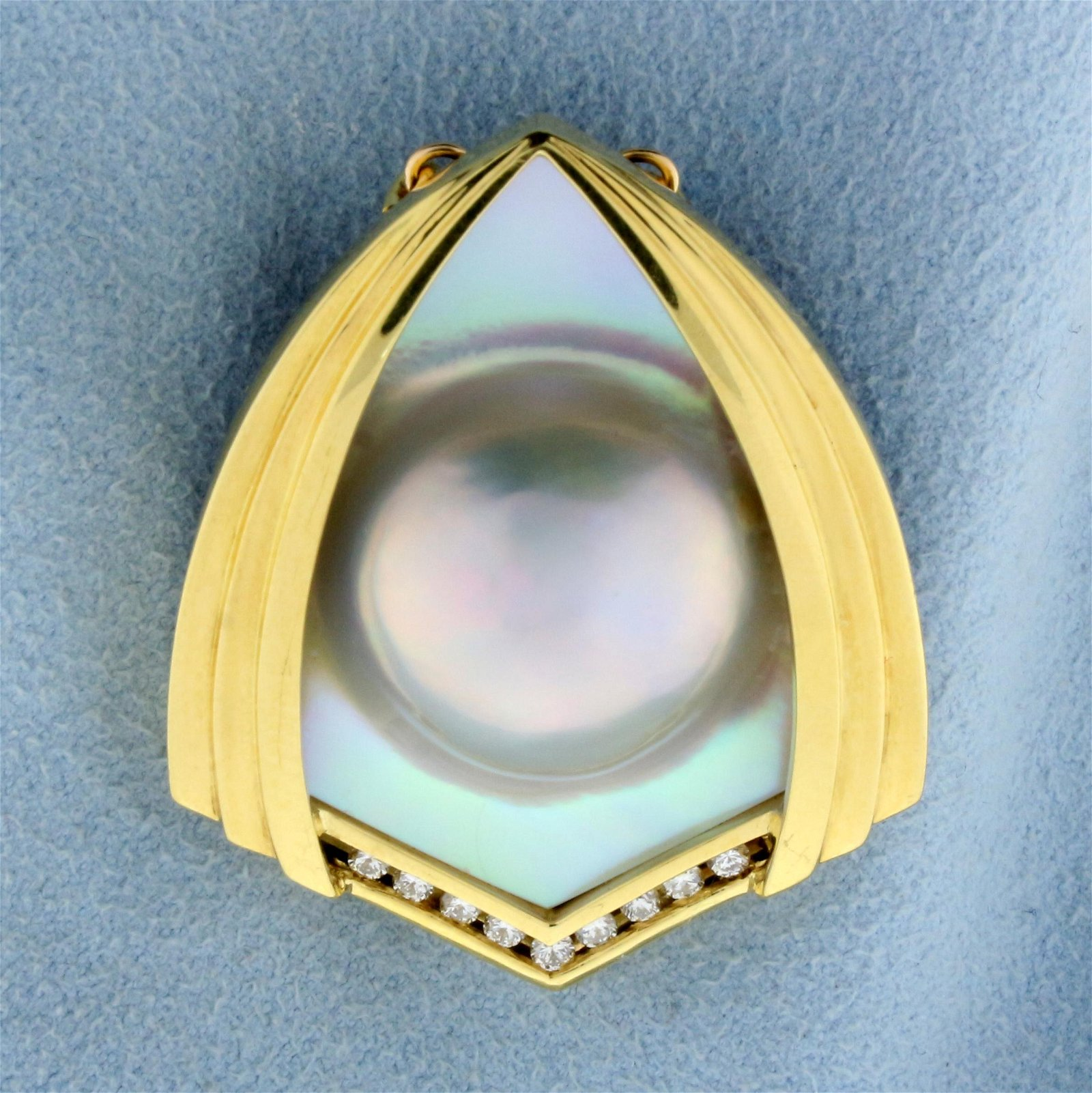 Designer Mabe Pearl and Diamond Pendant in 18k Yellow