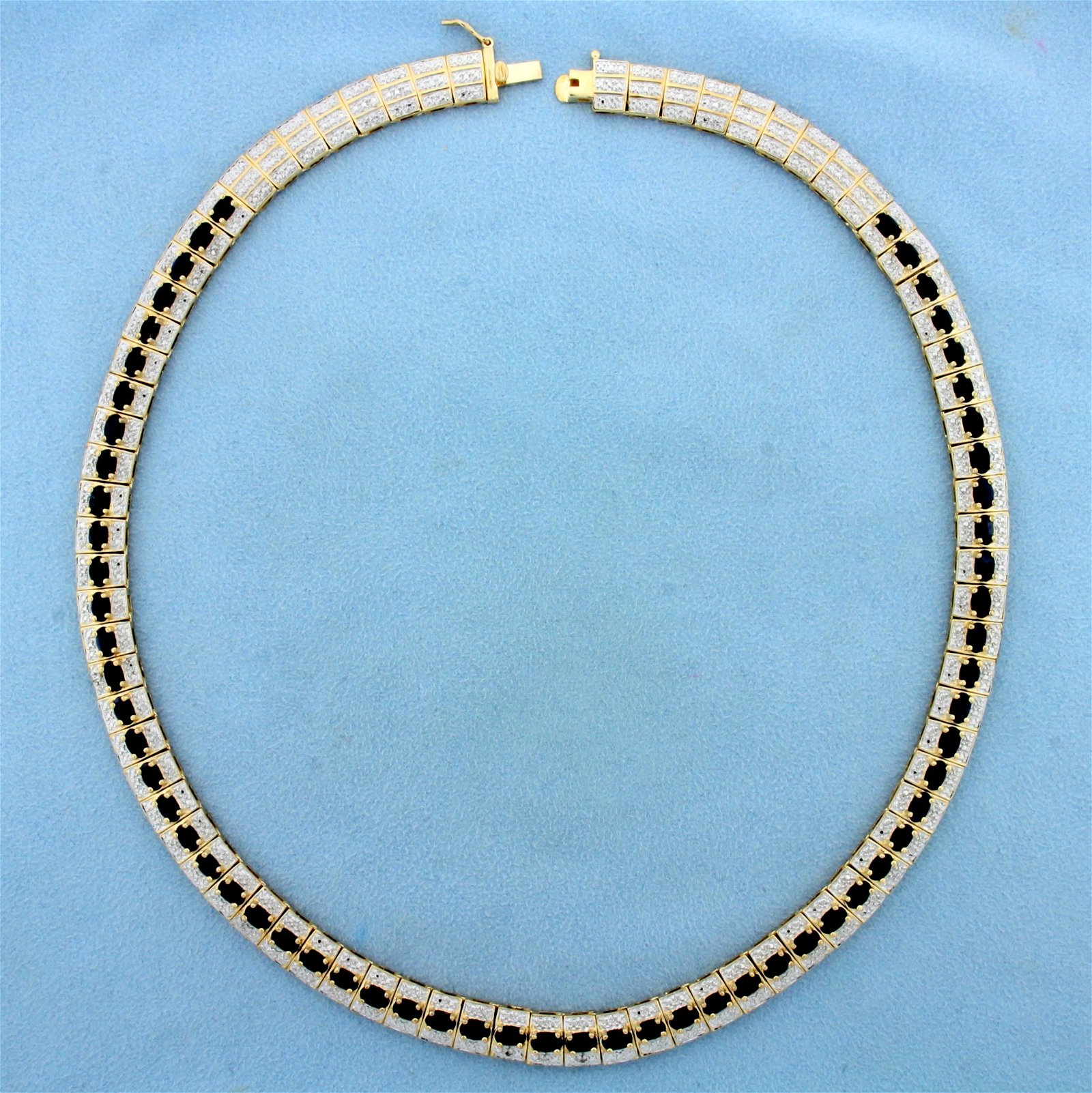 15ct TW Sapphire Necklace in Gold Plated Sterling