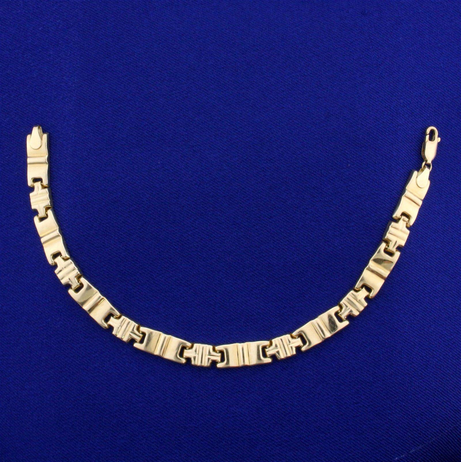 Italian-Made Designer Link Bracelet in 14K Yellow Gold