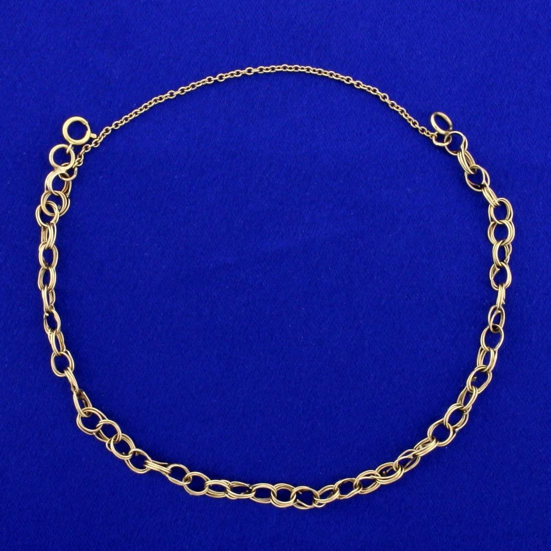 8 Inch Triple Link Bracelet in 14K Yellow Gold