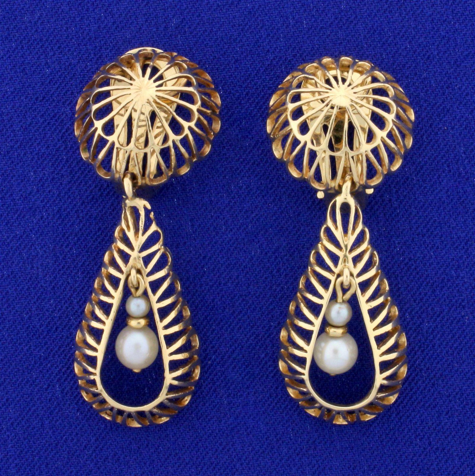 Large Cultured Pearl Dangle Clip-on Earrings in 14K