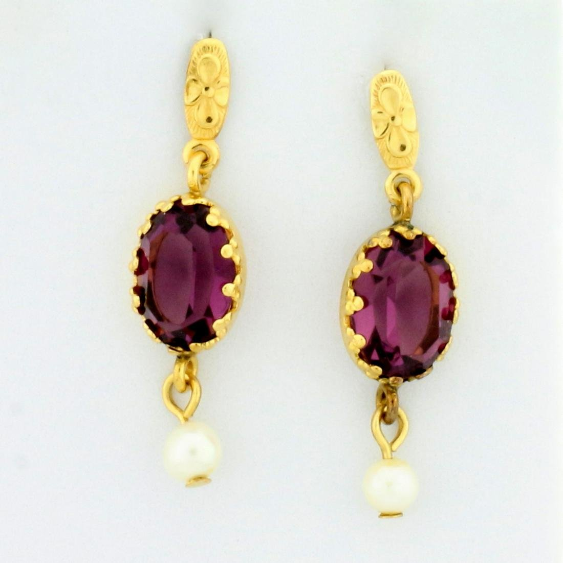 4ct TW Amethyst and Pearl Dangle Earrings in 14K Yellow