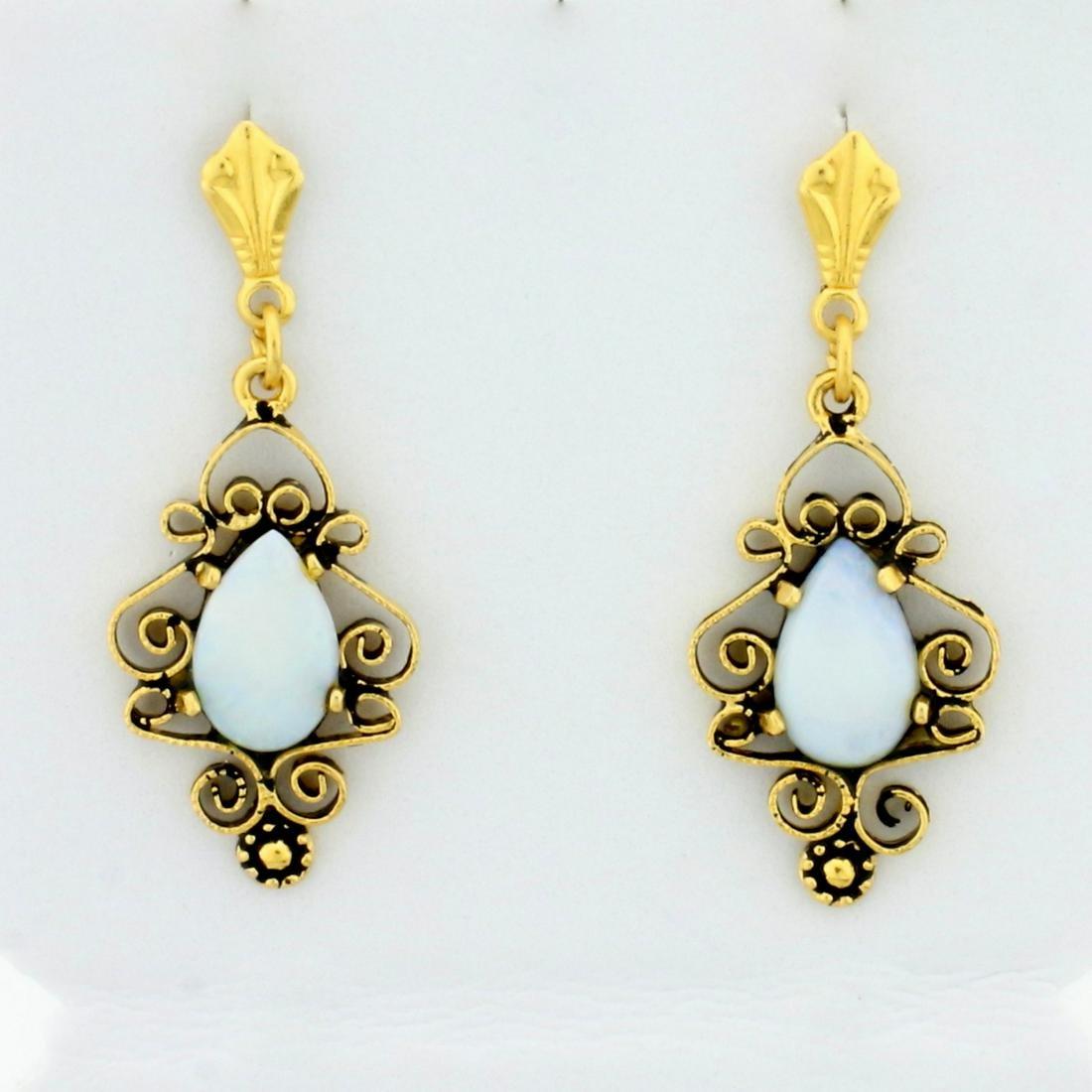 Vintage Dangle Opal Dangle Earrings in 14K Yellow Gold