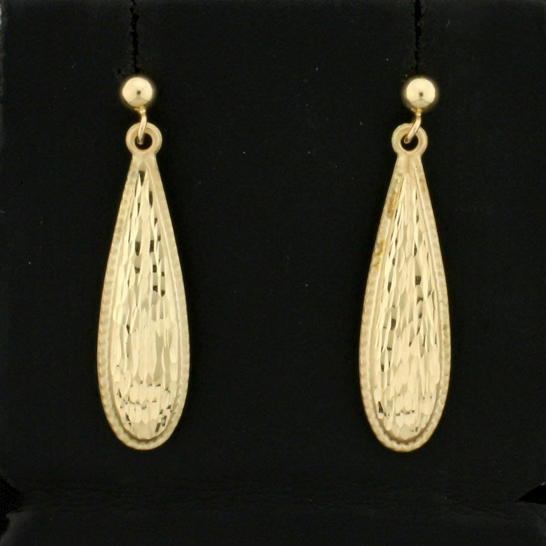 Diamond Cut Dangle Earrings in 14K Yellow Gold