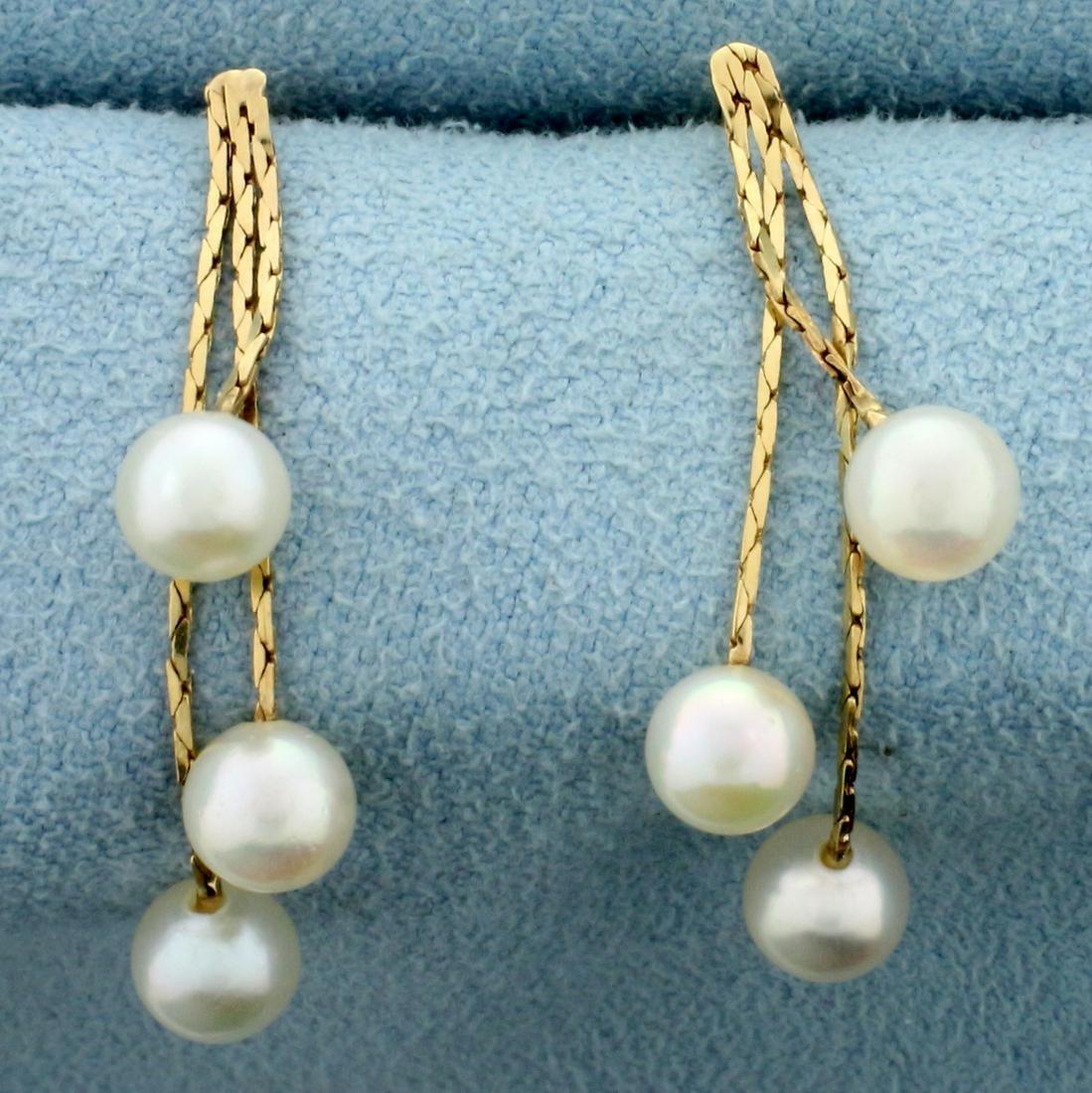 Cultured Pearl Dangle Earrings in 14K Yellow Gold
