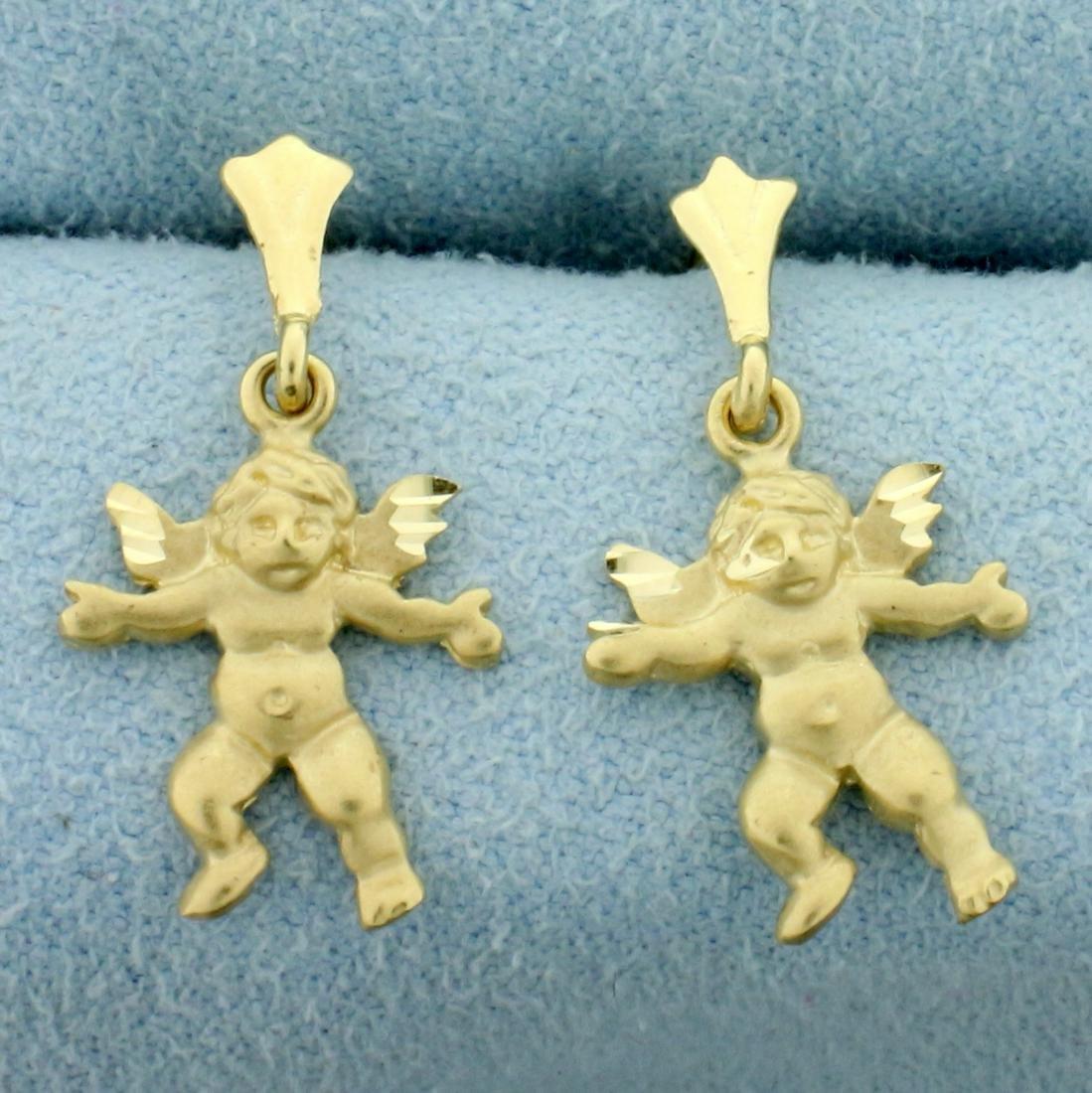 Cherub Dangle Earrings in 14K Yellow Gold