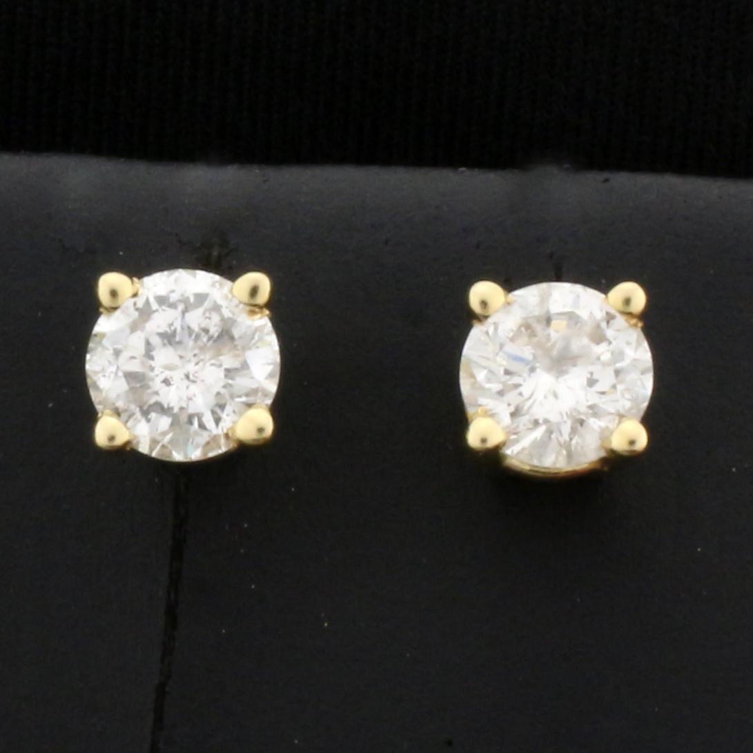 1ct TW Diamond Stud Earrings in 14K Yellow Gold Basket