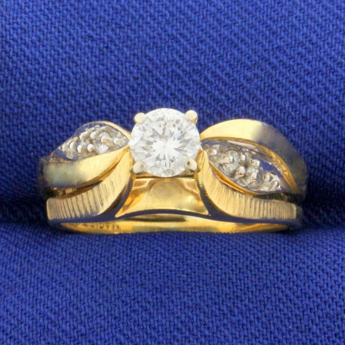 Vintage 1/2 ct TW Diamond Engagement Ring in 14k Yellow