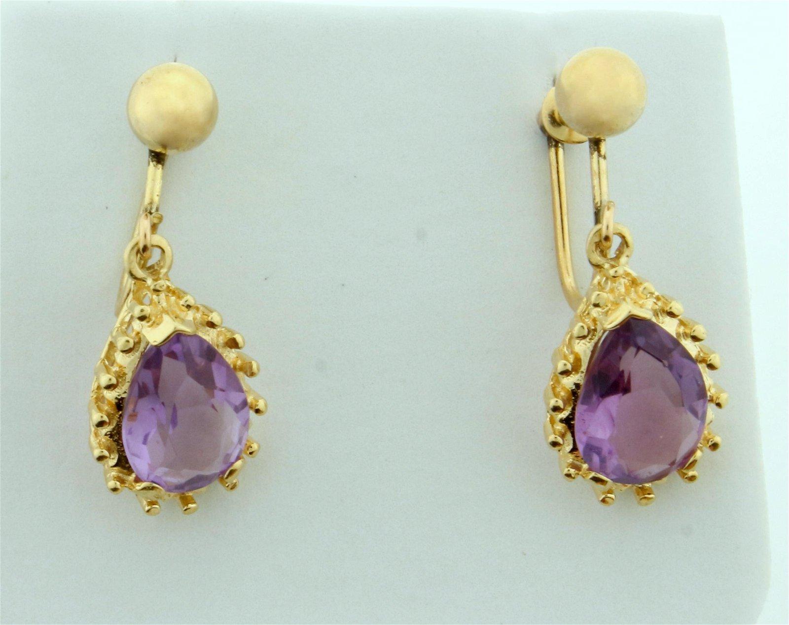 Vintage Screw Back 4ct TW Amethyst Dangle Earrings in