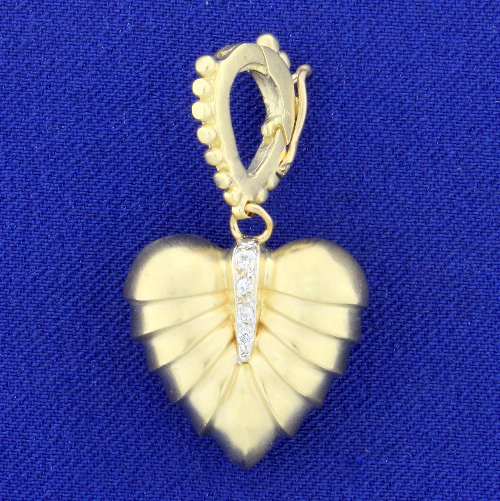 Vintage Solid Gold and Diamond Heart Pendant in 14K