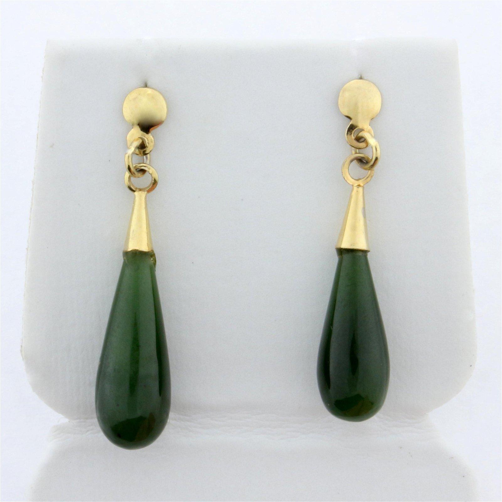 Jade Tear Drop Dangle Earrings in 14K Yellow Gold