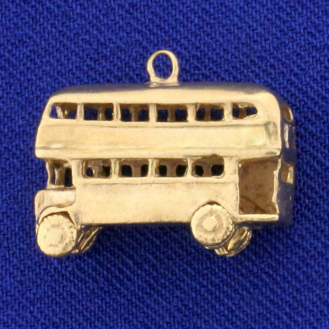London Double Decker Bus Pendant in 9K Yellow Gold