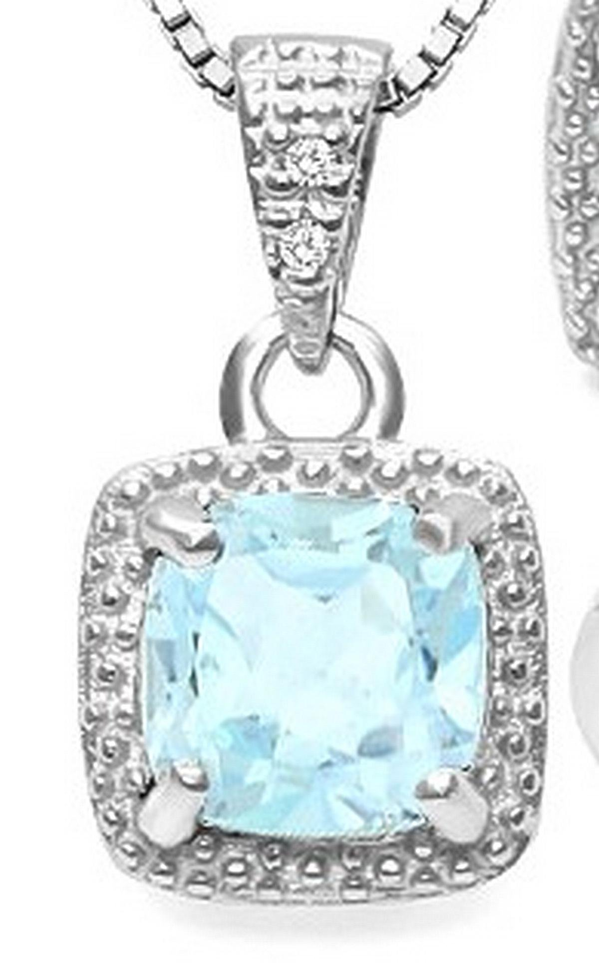 Sky Blue Topaz and Diamond Halo Style Necklace in