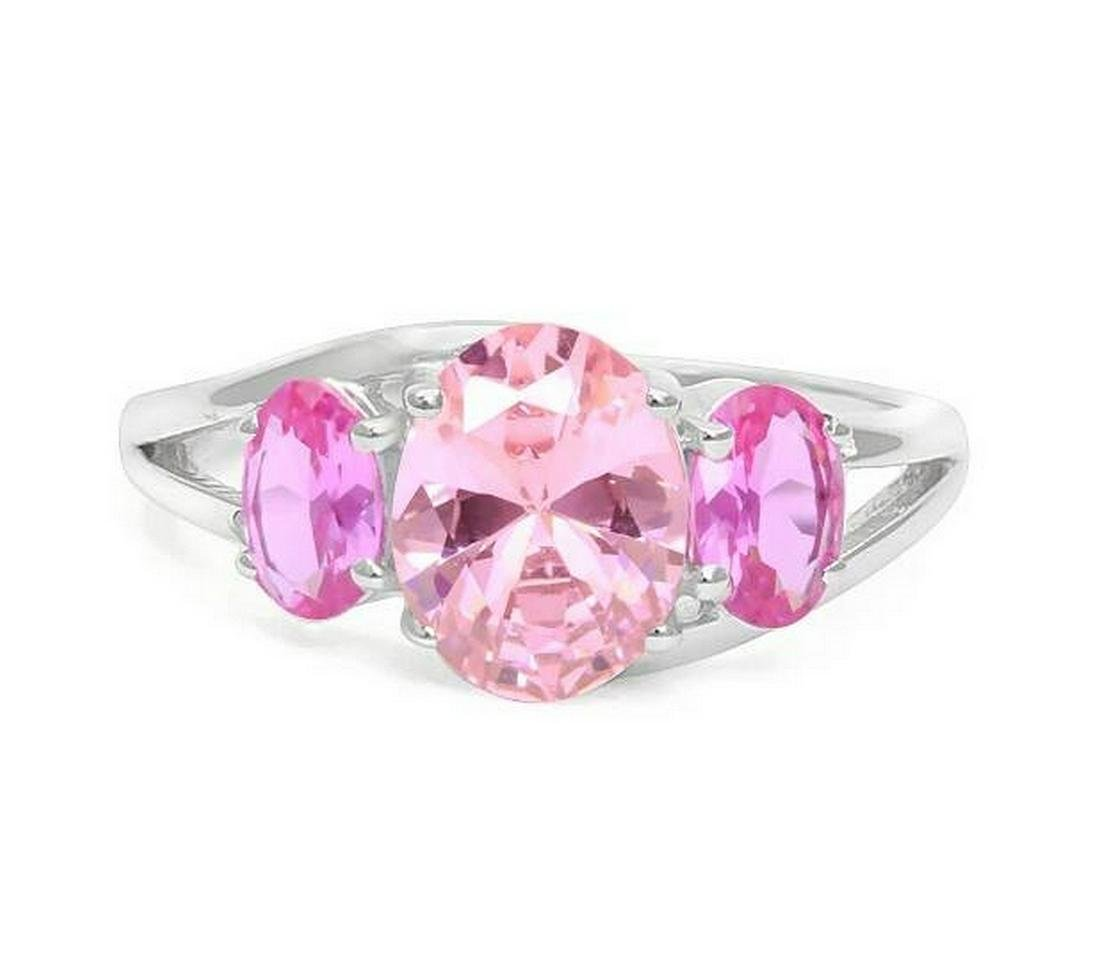 Large Pink Sapphire & Diamond Ring in Sterling Silver