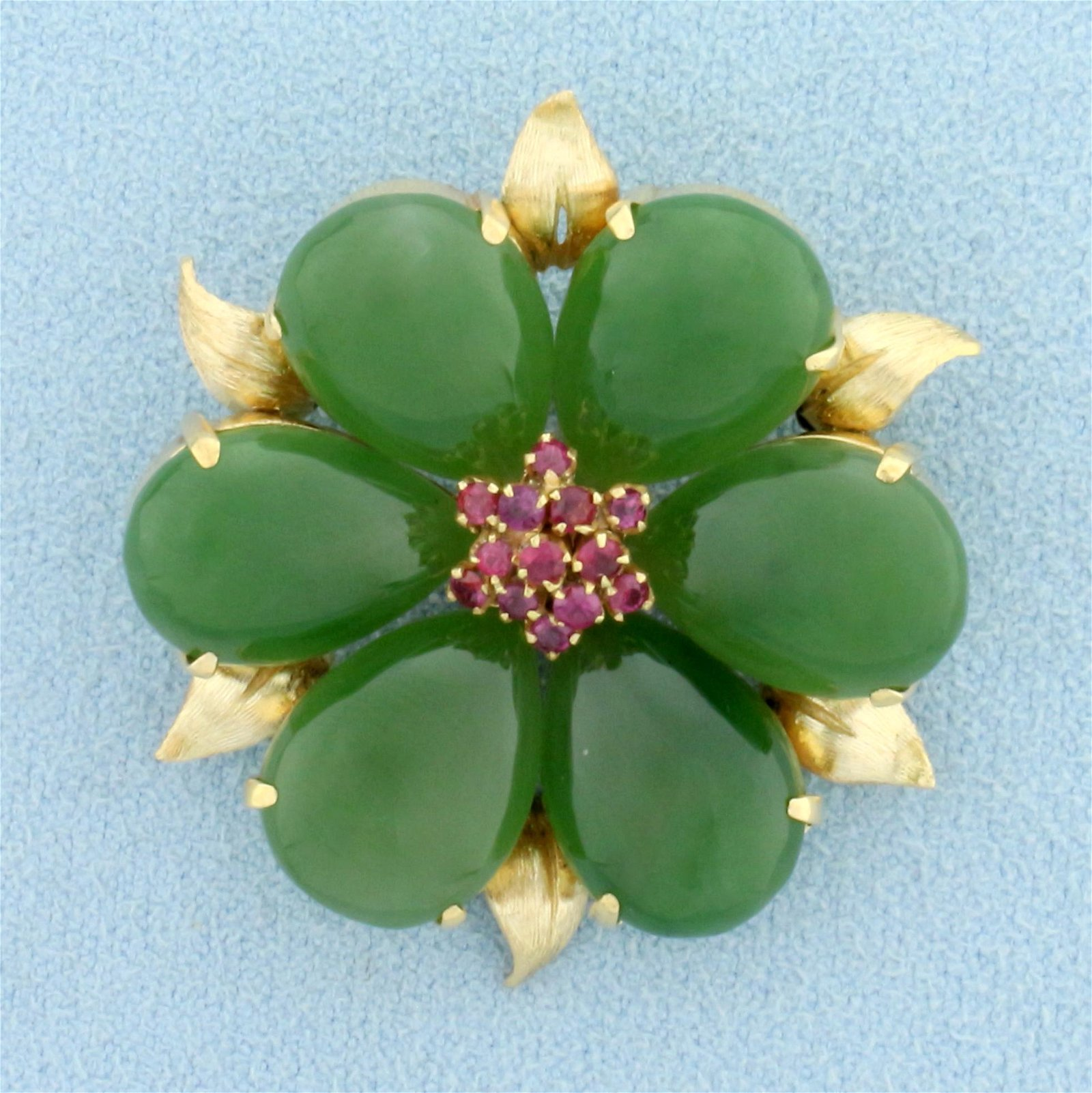Large Vintage Jade and Ruby Flower Pin in 14K Yellow