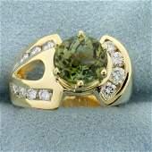 3 1/4ct TW Peridot and Diamond Ring in 14K Yellow Gold
