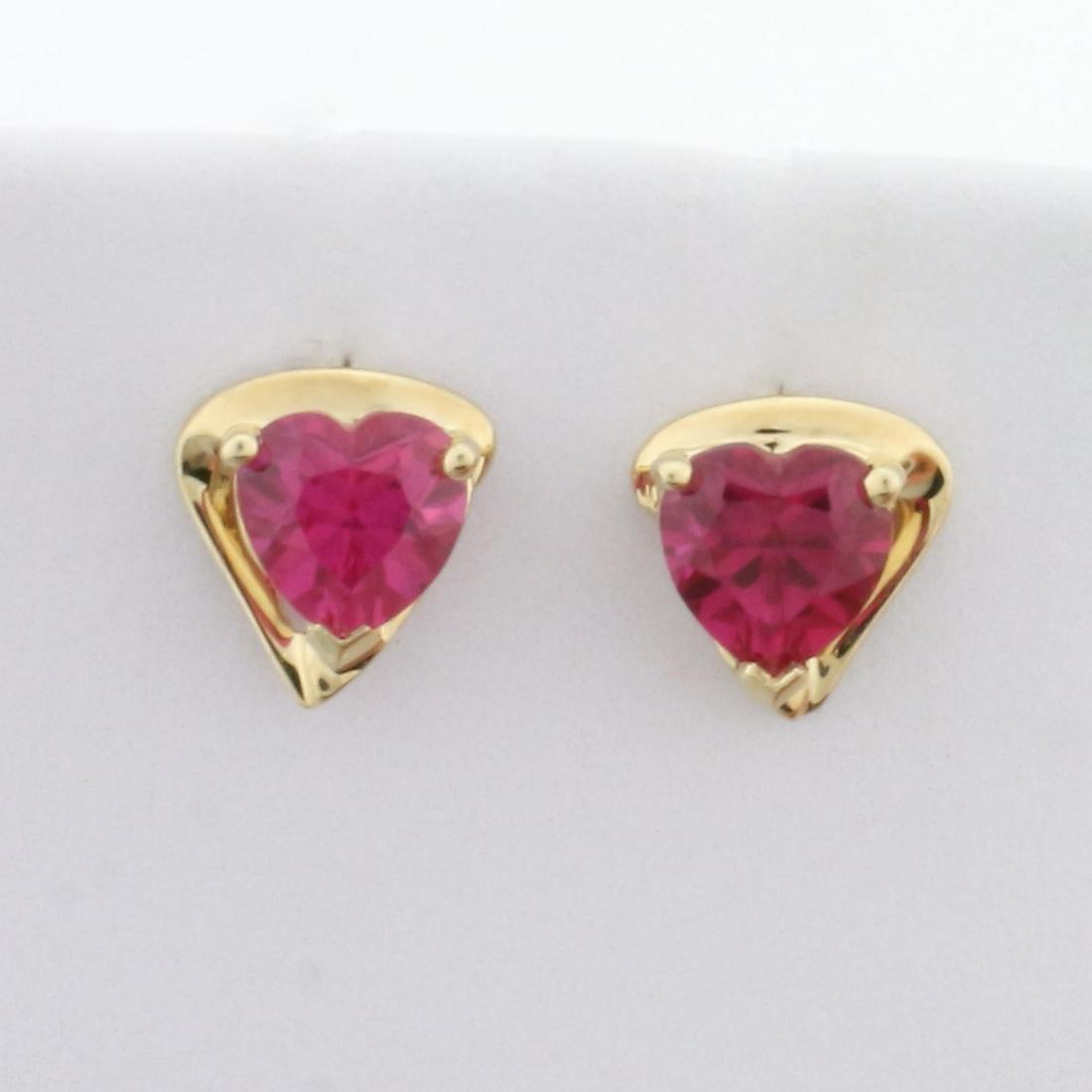 1ct TW Heart-Shaped Lab Pink Sapphire Stud Earrings in