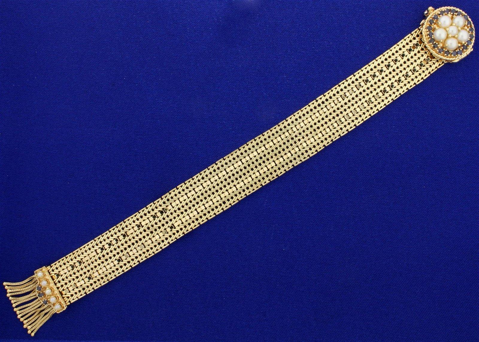 Vintage Victorian Adjustable Mesh Bracelet with Pearls