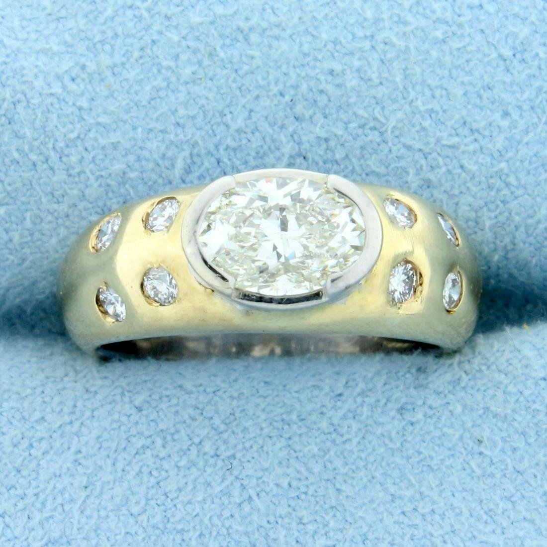 1.5ct TW Oval Diamond Engagement Ring in 14K Yellow and