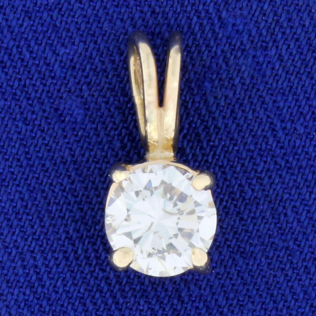 .9ct Solitaire Diamond Pendant in 14k Yellow Gold