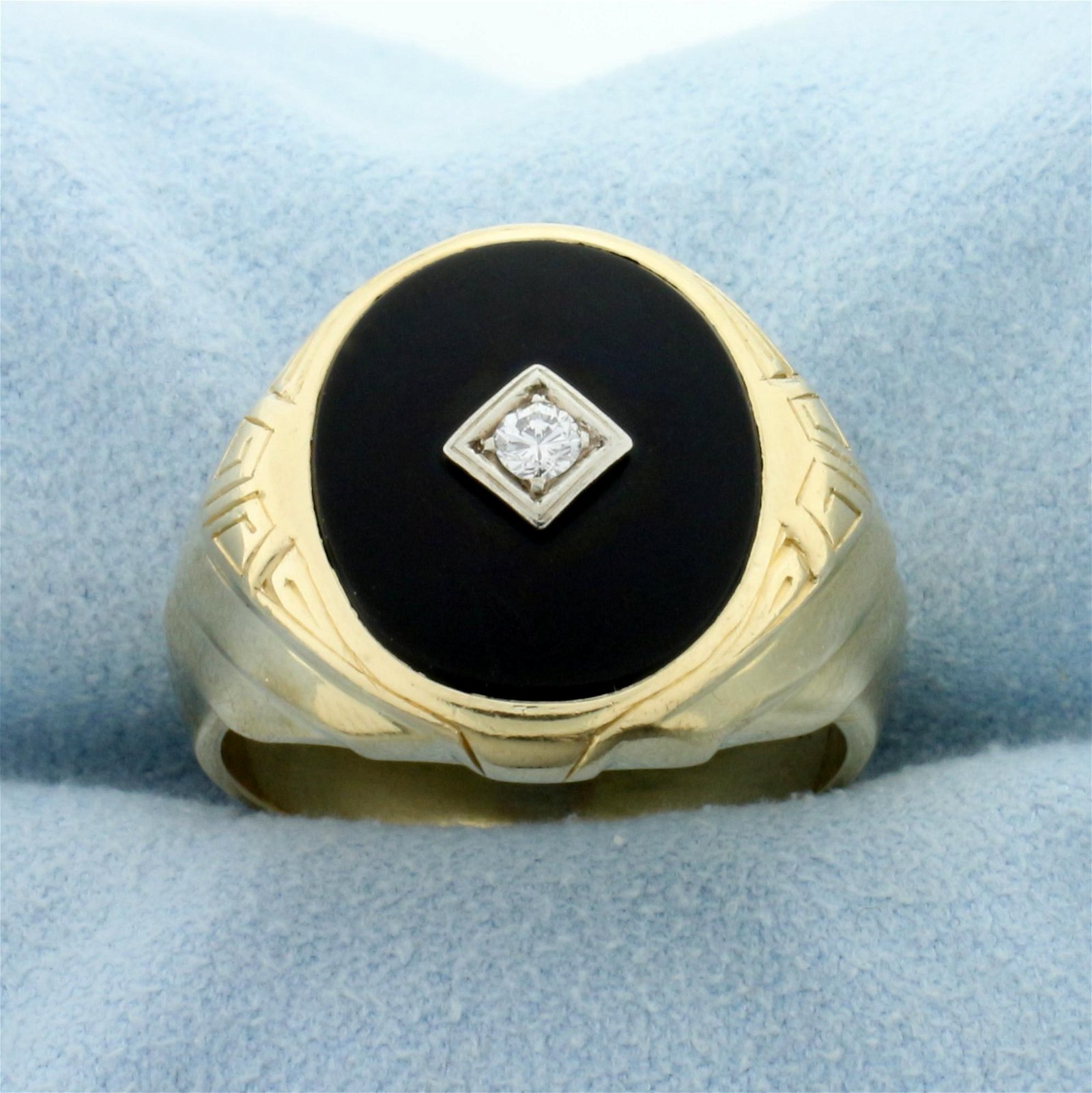 Men's Antique Onyx and Diamond Ring in 14K Yellow Gold