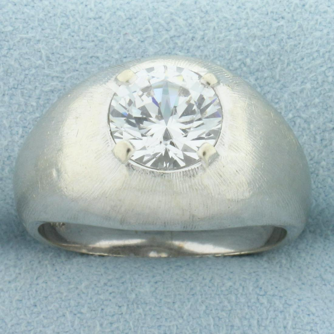 2ct White Sapphire Solitaire Ring in 14K White Gold