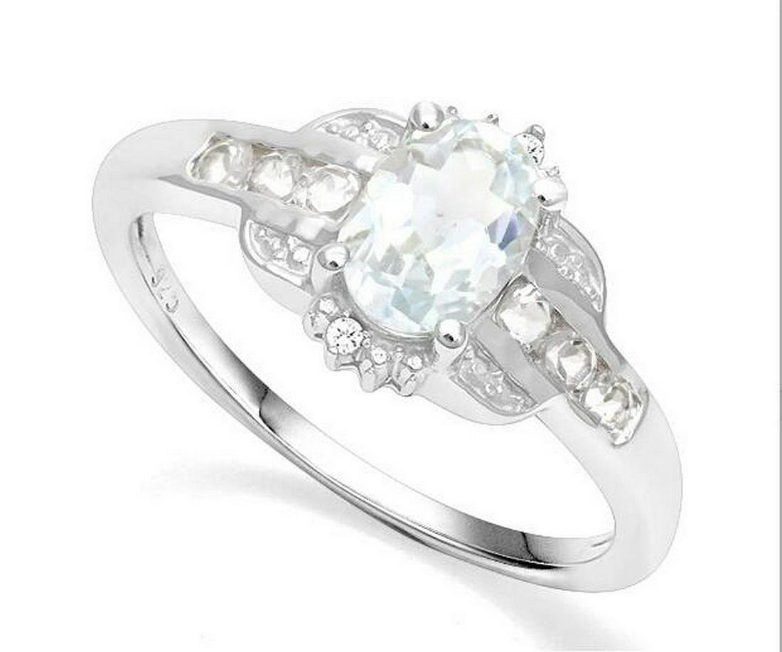 Aquamarine & White Topaz Deco Ring in Sterling Silver