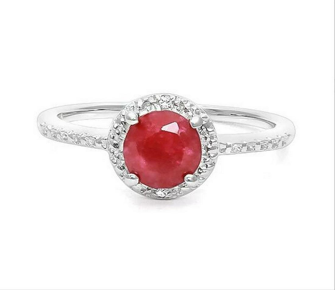 1.1CT Ruby & Diamond Halo Ring in Sterling Silver