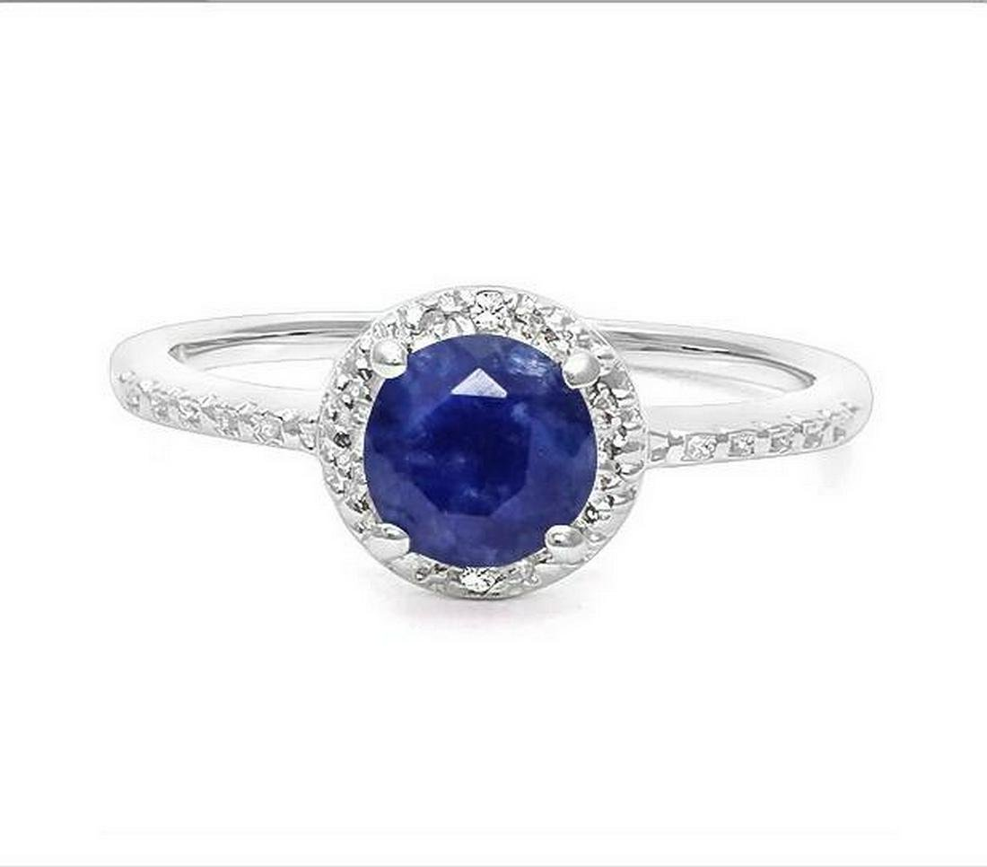 1.1CT Sapphire & Diamond Halo Ring in Sterling Silver