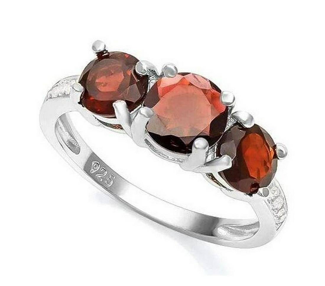 Classic Garnet 3-Stone Ring in Sterling Silver
