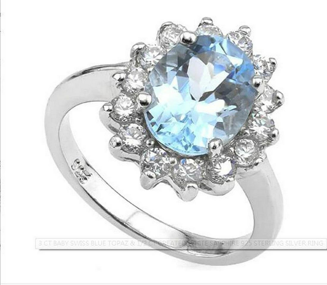 3CT Princess Diana Blue Topaz & White Sapphire Ring in